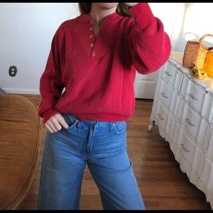Vintage Red Henley Crewneck Sweater